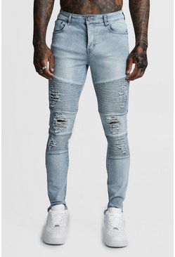 Mens Super Skinny Ice Wash Biker Jeans