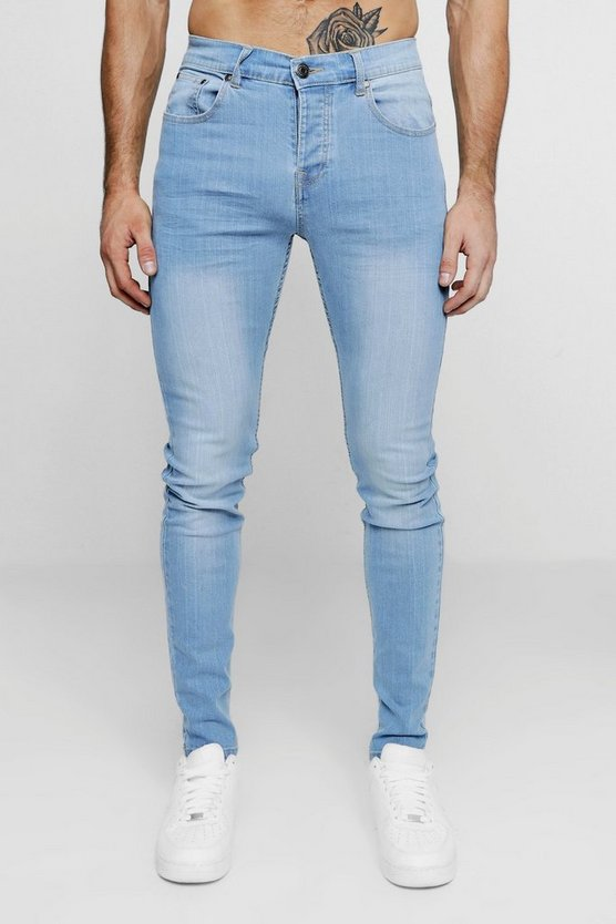 Skinny Fit Jeans In Washed Blue by Boohoo Man