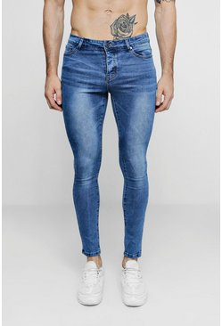 Herr Super Skinny Mid Blue Denim Jeans