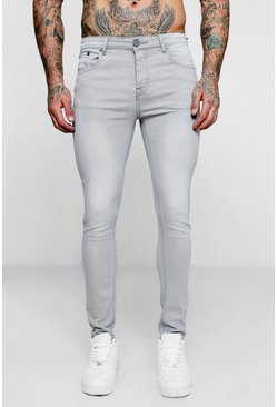 Mens Super Skinny Pale Grey Denim Jeans