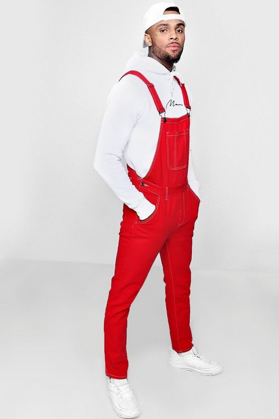 Skinny Fit Red Denim Dungarees by Boohoo Man