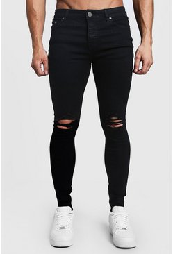 Herr Black Spray On Skinny Jeans With Ripped Knees