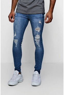 Mens Blue Spray On Skinny Jeans With Distressing