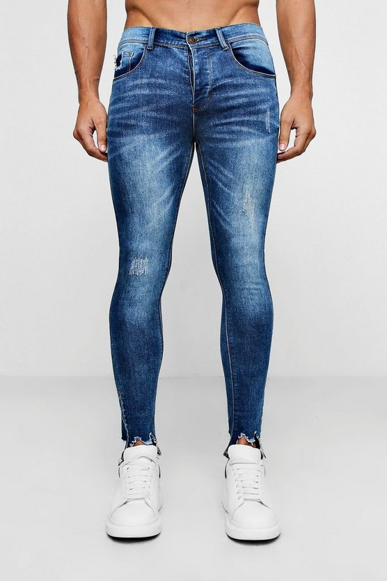 Spray On Skinny Jeans With Destroyed Zip Hem