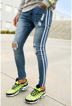 Super Skinny-Fit Jeans im Destroyed-Look mit Seitenstreifen, Blau