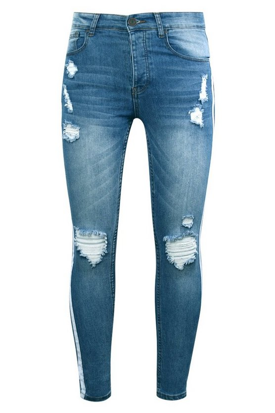 Super Skinny Distressed Jeans With Side Tape by Boohoo Man