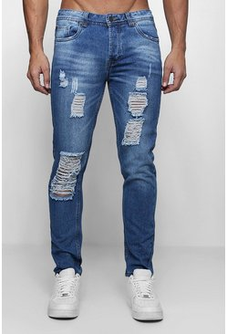 Mens Blue Skinny Fit Rigid Jeans With Distressing