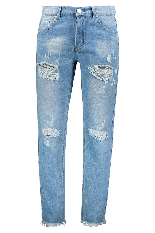 salpicaduras vintage con fit slim Jeans desgastados lavado qIwByaA