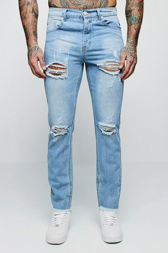 Slim Fit Distressed Jeans With Splatter