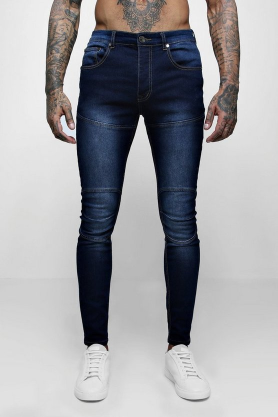 Skinny Fit Jeans With Biker Panelling