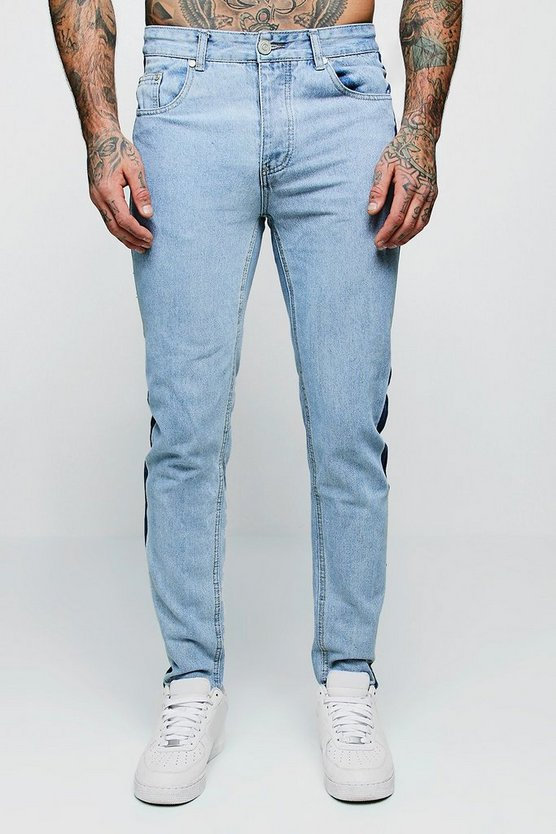 Skinny Fit Jeans With Washed Side Seam