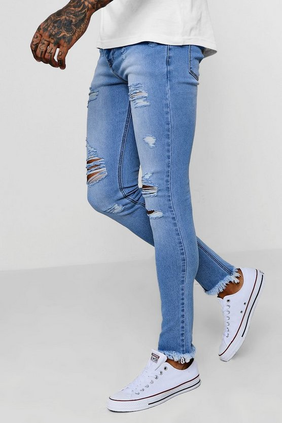 Super Skinny Jeans With Distressed Hem