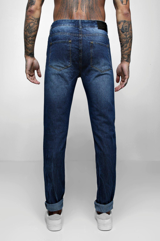 skinny azul Jeans dobladillo con desgasados oscuro ZHd0wq7x