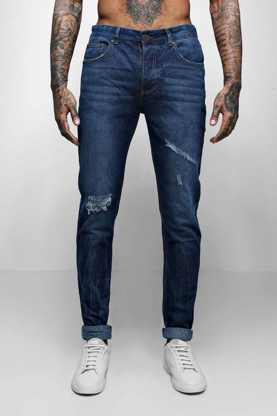 Skinny Fit Distressed Jeans With Creasing