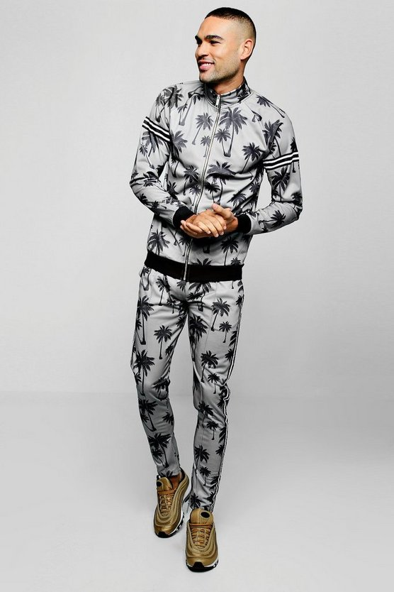Mens Grey Palm Print Tracksuit