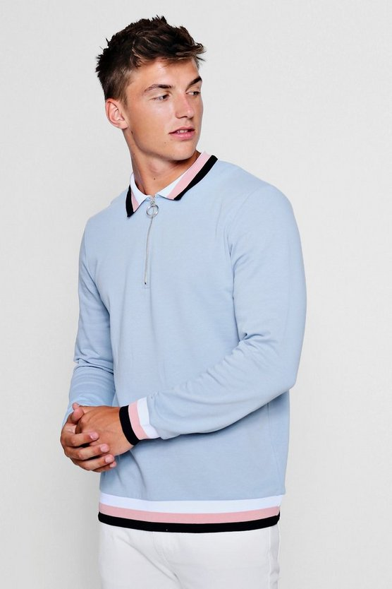 Zip Placket Rugby Sweater by Boohoo Man