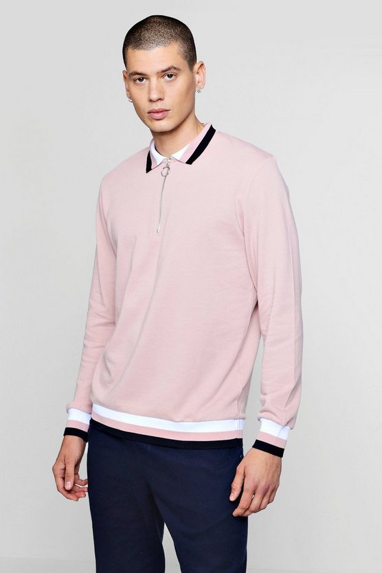 Zip Placket Rugby Sweater