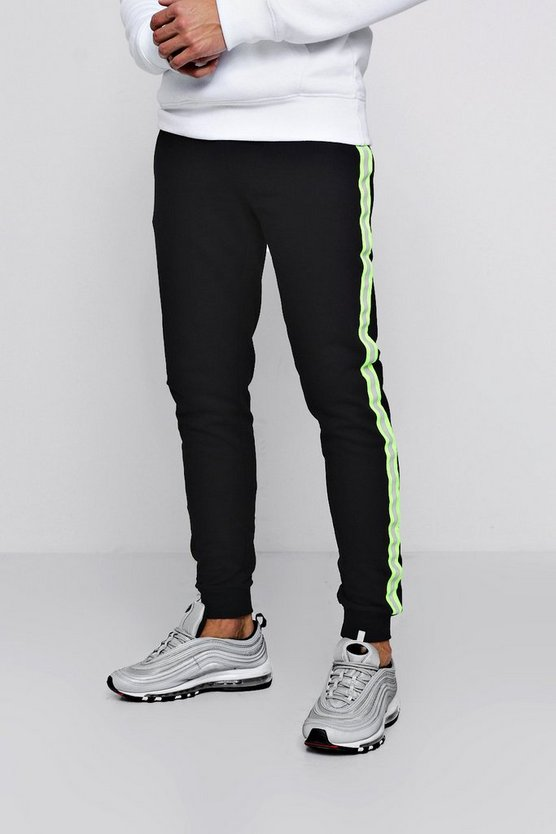 Skinny Fit MAN Neon Tape Joggers
