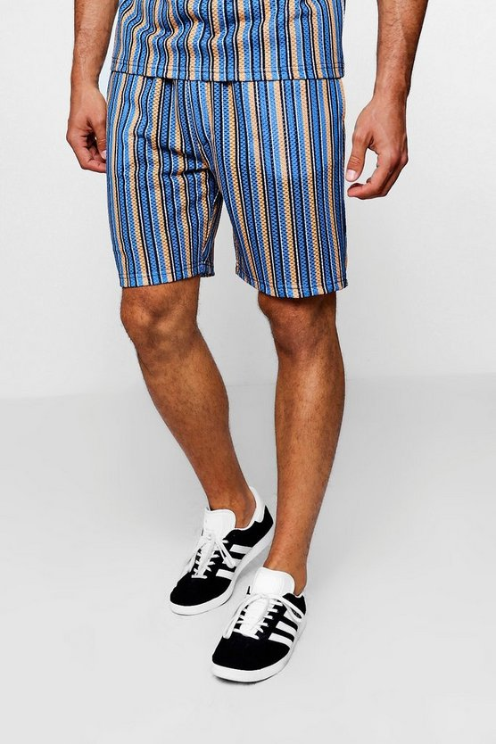 Mens Multi Multi Stripe Mesh Shorts