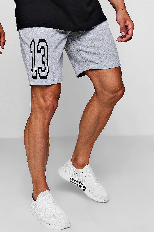 de universitario gris largo Pantalones punto medio con estampado cortos de 78w5wzSIq