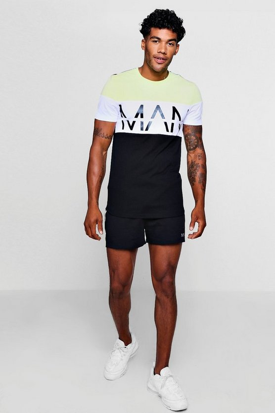 Man Reflective Muscle Tee Short Set
