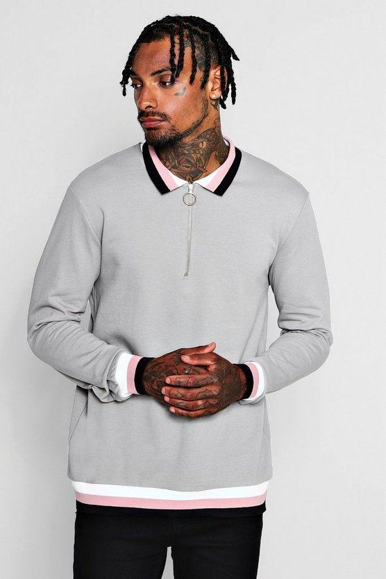 Mens Grey Zip Placket Rugby Sweater With Sports Rib