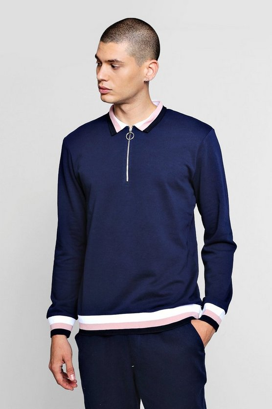 Mens Navy Zip Placket Rugby Sweater With Sports Rib