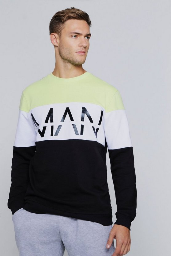 Man Reflective Print Colour Block Sweatshirt