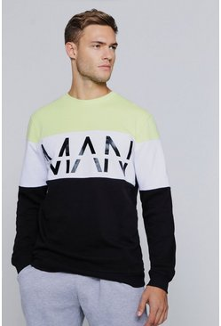 Mens Lime Man Reflective Print Colour Block Sweatshirt