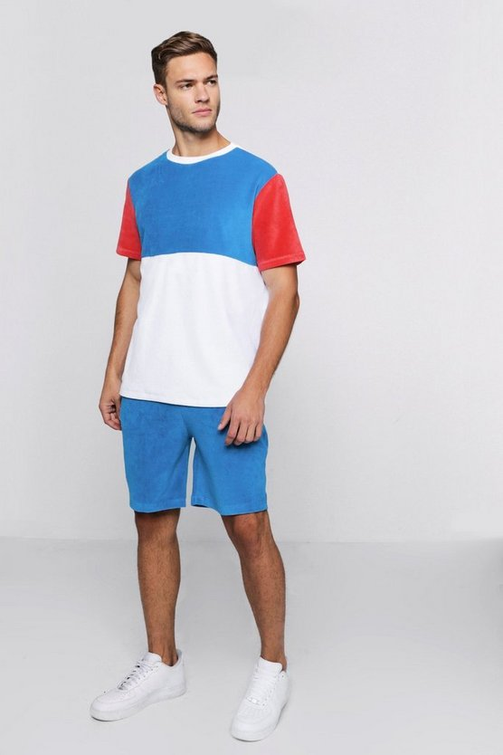 Boxy Colour Block Velour T-Shirt & Short Set