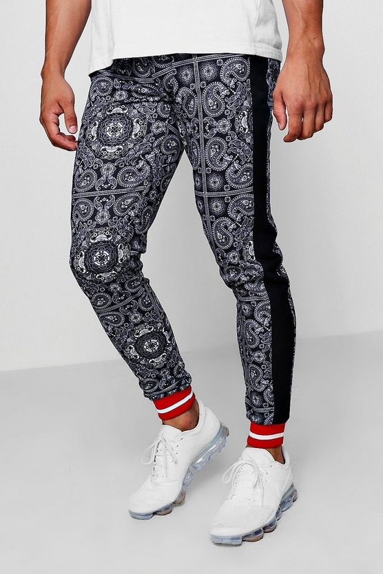 Paisley Joggers With Sports Rib Cuff