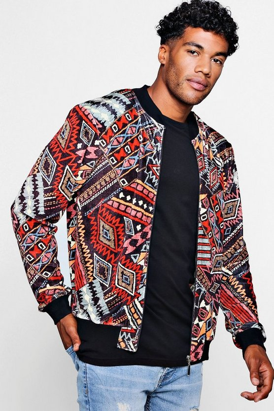 Mens Black Aztec Velour Printed Bomber
