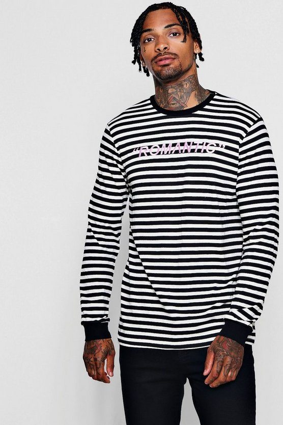 Long Sleeved Stripe Embroidered Slogan T-Shirt