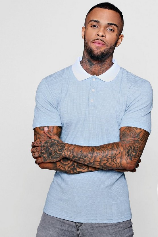Muscle Fit Ribbed Polo