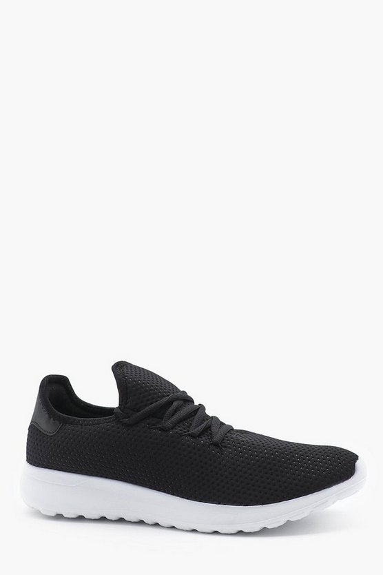 Mens Black Honeycomb Mesh Upper Trainer