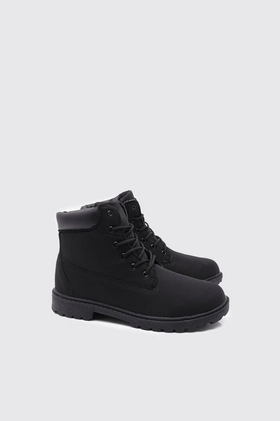 Mens Black Faux Leather Worker Boot