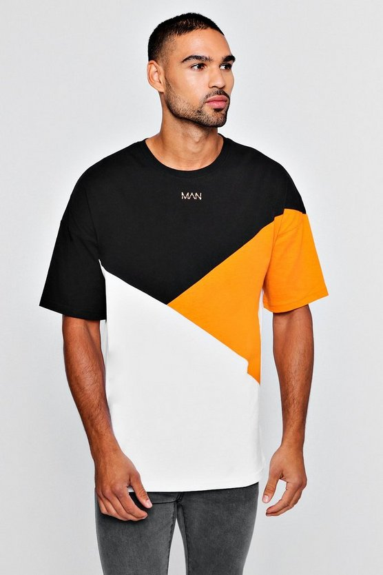 MAN Colour Block Drop Shoulder T-Shirt