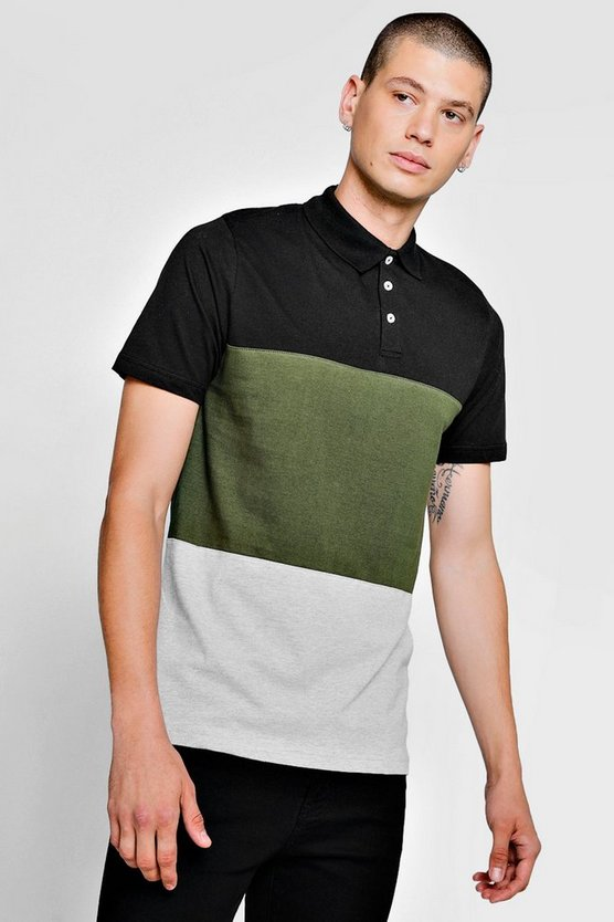 Kurzärmeliges Polo-Shirt Farbblock-Design