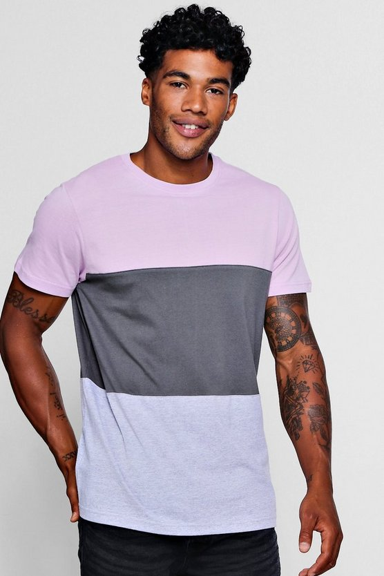 Mens Pink Crew Neck Colour Block T-Shirt