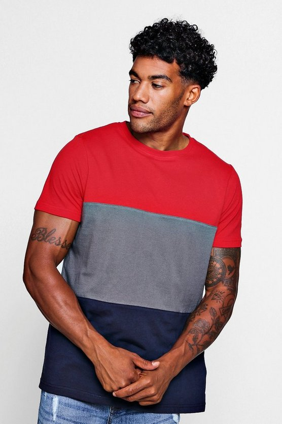 Crew Neck Colour Block T-Shirt