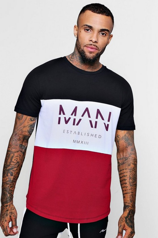 Colour Block MAN T-Shirt With Curve Hem
