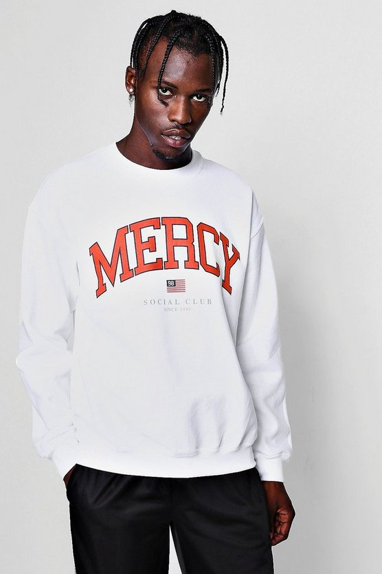 Mercy Slogan Print Sweater