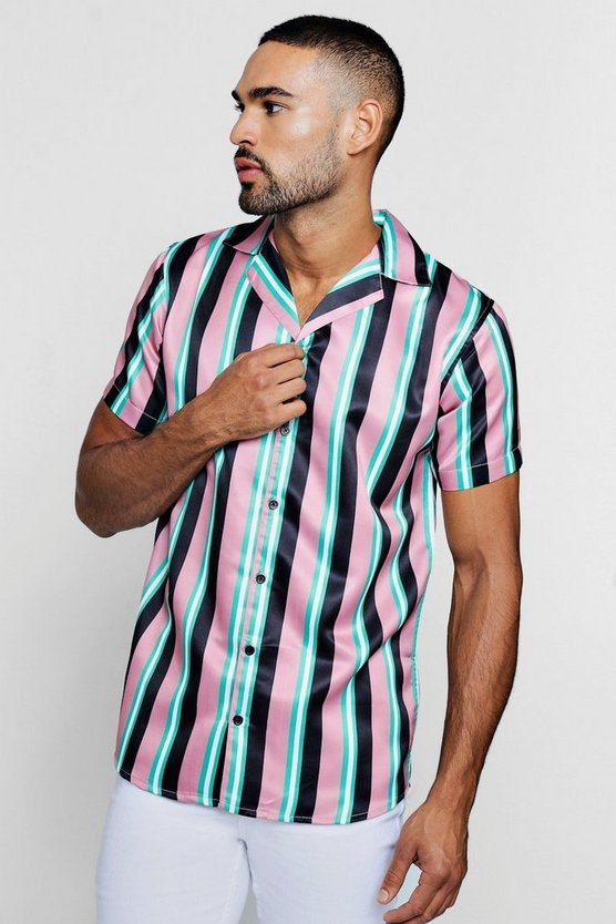 Wide Stripe Short Sleeve Revere Satin Shirt