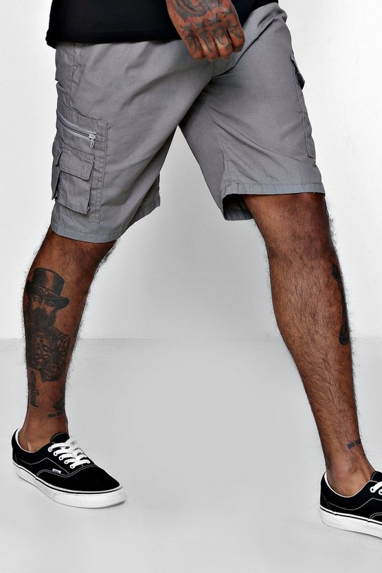 Mens Light grey Cotton Cargo Short With Zip Detail