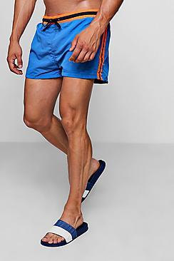 Short Length Swim Short With Side Stripe