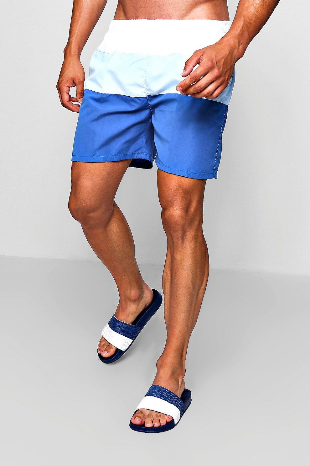 fa72e9a6ed Mens Navy Colour Block Mid Length Swim Short