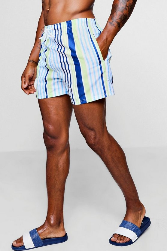 Mens Lime Bold Stripe Mid Length Swim Short