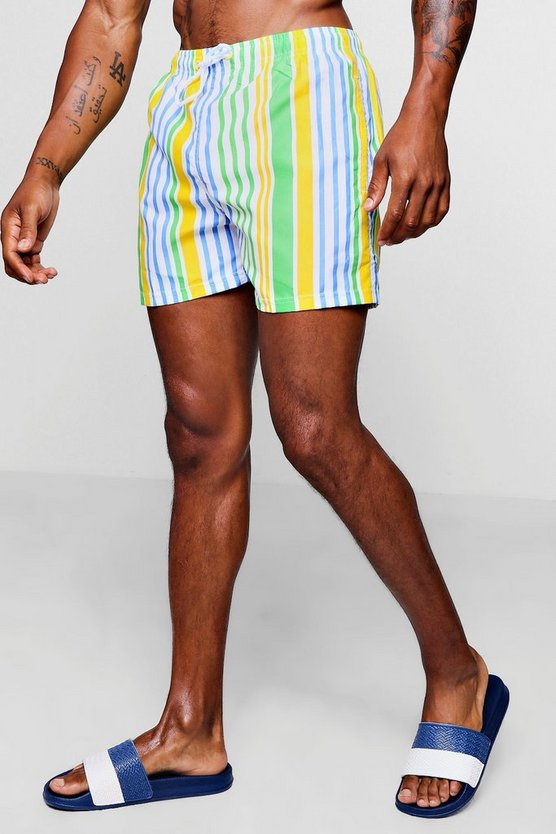 Mens Yellow Bold Stripe Mid Length Swim Short
