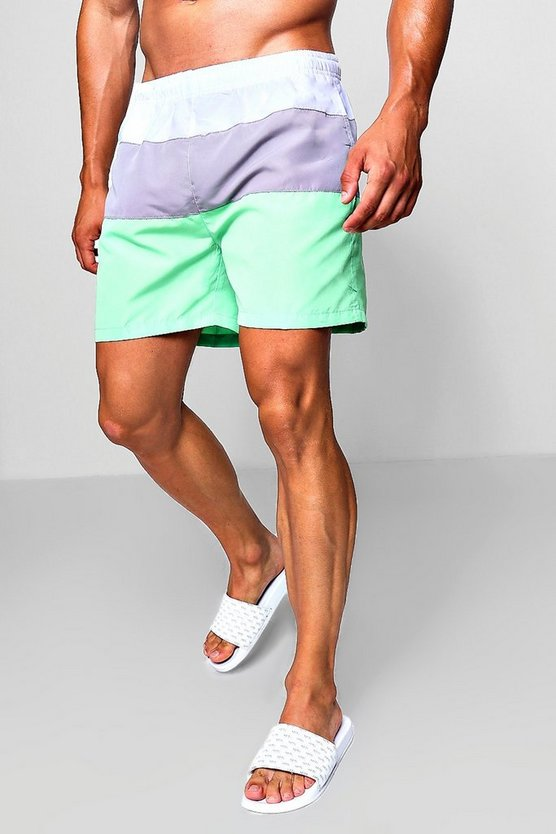 Colour Block Mid Length Swim Short