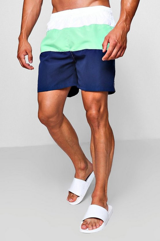Mens Green Colour Block Mid Length Swim Short